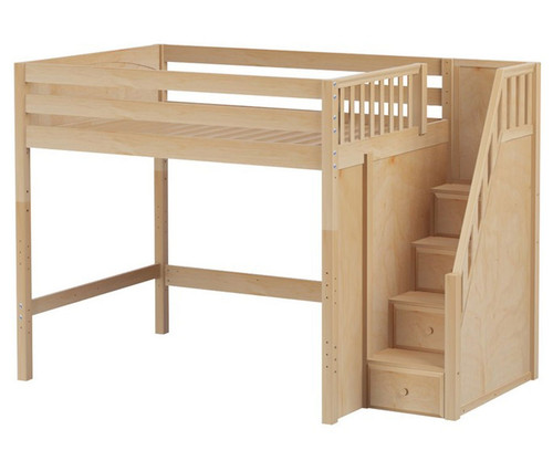 Maxtrix ENORMOUS High Loft Bed with Stairs Full Size Natural   Maxtrix Furniture   MX-ENORMOUS-NX