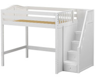 Maxtrix ENORMOUS High Loft Bed with Stairs Full Size White | Maxtrix Furniture | MX-ENORMOUS-WX