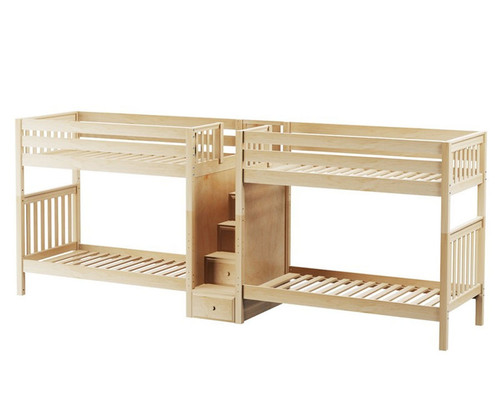 Maxtrix EXCELLENT Quadruple High Bunk Bed with Stairs Twin Size Natural   Maxtrix Furniture   MX-EXCELLENT-NX