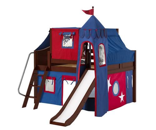 Maxtrix FANTASTIC Castle Low Loft Bed with Slide Full Size Chestnut   Maxtrix Furniture   MX-FANTASTIC21-CX