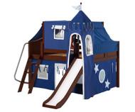 Maxtrix FANTASTIC Castle Low Loft Bed with Slide Full Size Chestnut 1 | Maxtrix Furniture | MX-FANTASTIC22-CX