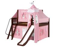 Maxtrix FANTASTIC Castle Low Loft Bed with Slide Full Size Chestnut 2 | Maxtrix Furniture | MX-FANTASTIC23-CX