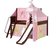Maxtrix FANTASTIC Castle Low Loft Bed with Slide Full Size Chestnut 3 | Maxtrix Furniture | MX-FANTASTIC25-CX