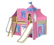 Maxtrix FANTASTIC Castle Low Loft Bed with Slide Full Size Natural 5 | Maxtrix Furniture | MX-FANTASTIC28-NX