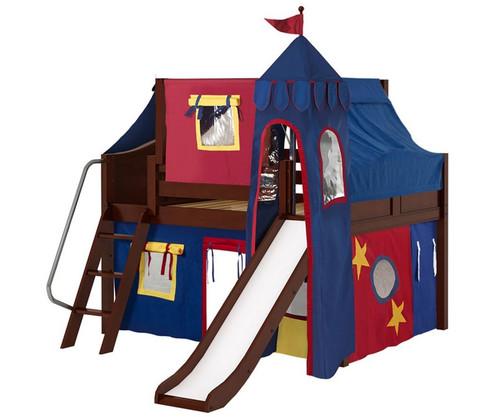 Maxtrix FANTASTIC Castle Low Loft Bed with Slide Full Size Chestnut 6 | Maxtrix Furniture | MX-FANTASTIC29-CX