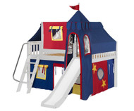 Maxtrix FANTASTIC Castle Low Loft Bed with Slide Full Size White 1 | Maxtrix Furniture | MX-FANTASTIC29-WX