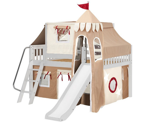 Maxtrix FANTASTIC Castle Low Loft Bed with Slide Full Size White 2 | Maxtrix Furniture | MX-FANTASTIC30-WX