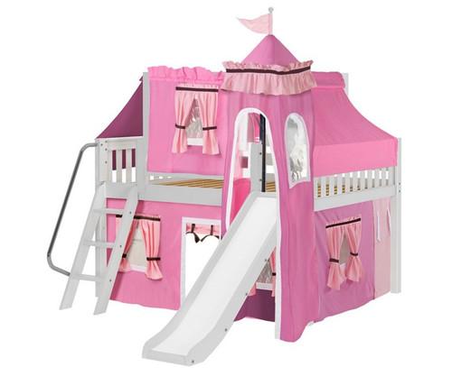 Maxtrix FANTASTIC Castle Low Loft Bed with Slide Full Size White 4 | Maxtrix Furniture | MX-FANTASTIC73-WX