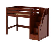 Maxtrix GALANT Mid Loft Bed with Stairs Twin Size Chestnut | Maxtrix Furniture | MX-GALANT-CX