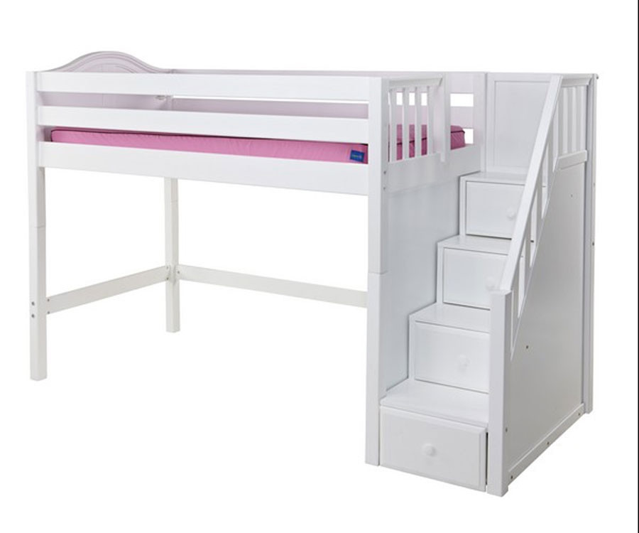Maxtrix GALANT Mid Loft Bed with Stairs Twin Size White