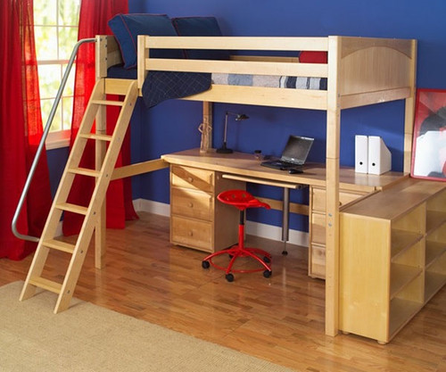 Maxtrix GIANT High Loft Bed with Desk and Storage Full Size Natural   Maxtrix Furniture   MX-GIANT3-NX