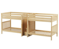 Maxtrix GIGA Quadruple High Bunk Bed with Stairs Full Size Natural | Maxtrix Furniture | MX-GIGA-NX