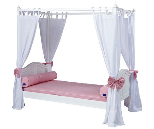 Maxtrix GOLDILOCKS Princess Poster Bed w/ Curtains Twin Size White | Maxtrix Furniture | MX-GOLDILOCKS2-WX