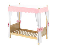 Maxtrix GOLDILOCKS Princess Poster Bed w/ Curtains & Canopy Twin Size Natural | Maxtrix Furniture | MX-GOLDILOCKS3-NX