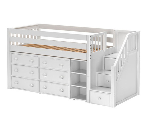 Maxtrix Great1 Storage Low Loft Bed With Stairs Matrix