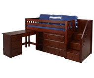 Maxtrix GREAT Storage Low Loft Bed with Stairs & Desk Twin Size Chestnut | Maxtrix Furniture | MX-GREAT2L-CX