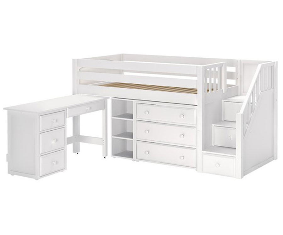 Maxtrix GREAT Storage Low Loft Bed with Stairs & Desk Twin Size White