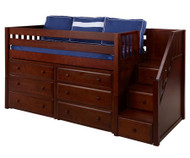 Maxtrix GREAT Storage Low Loft Bed with Stairs Twin Size Chestnut 1 | Maxtrix Furniture | MX-GREAT3-CX