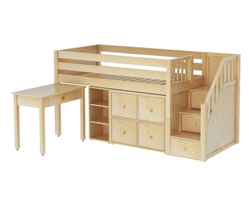 Maxtrix GREAT Storage Low Loft Bed with Stairs & Desk Twin Size Natural 1 | Maxtrix Furniture | MX-GREAT4-NX
