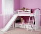 Maxtrix HAPPY Medium Bunk Bed w/ Slide Twin Size White | Maxtrix Furniture | MX-HAPPY-WX