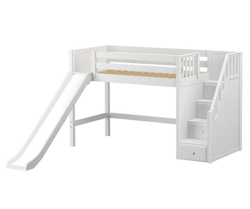 Maxtrix HERO Mid Loft Bed with Stairs and Slide Twin Size White   Maxtrix Furniture   MX-HERO-WX