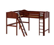 Maxtrix HIGHRISE Corner High Loft Bed Twin Size Chestnut | Maxtrix Furniture | MX-HIGHRISE-CX