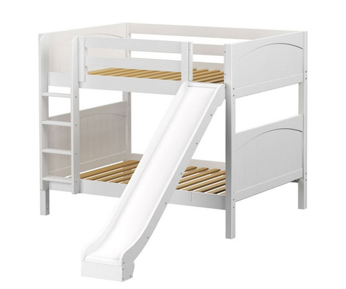 Maxtrix HIPHIP Medium Bunk Bed w/ Slide Full Size White | Maxtrix Furniture | MX-HIPHIP-WX