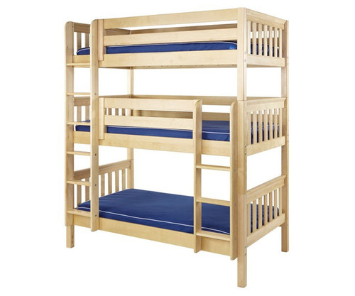 Maxtrix HOLY Triple Bunk Bed Twin Size Natural | Maxtrix Furniture | MX-HOLY-NX