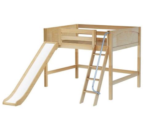 Maxtrix HONEY Mid Loft Bed with Slide Full Size Natural | Maxtrix Furniture | MX-HONEY-NX