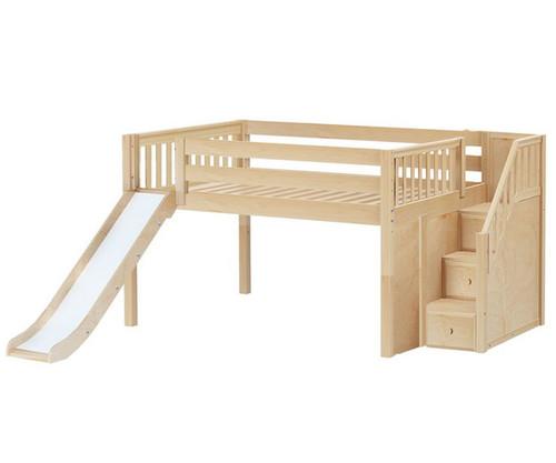 Maxtrix KAPOW Low Loft Bed with Stairs & Slide Full Size Natural   Maxtrix Furniture   MX-KAPOW-NX