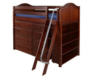 Maxtrix KATCHING Mid Loft Bed w/ Dressers & Bookcase Twin Size Chestnut | Maxtrix Furniture | MX-KATCHING2-CX