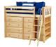 Maxtrix KATCHING Mid Loft Bed w/ Dressers & Bookcase Twin Size Natural | Maxtrix Furniture | MX-KATCHING2-NX