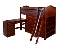 Maxtrix KATCHING Mid Loft Bed w/ Storage and Desk Twin Size Chestnut | Maxtrix Furniture | MX-KATCHING3L-CX