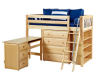Maxtrix KATCHING Mid Loft Bed w/ Storage and Desk Twin Size Natural | Maxtrix Furniture | MX-KATCHING3L-NX
