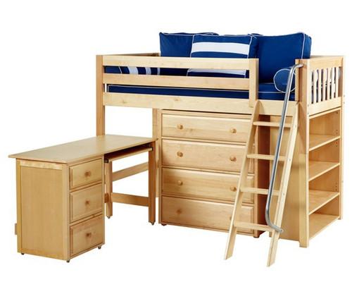 Maxtrix KATCHING Mid Loft Bed w/ Storage and Desk Twin Size Natural | Maxtrix Furniture | MX-KATCHING3L-NX