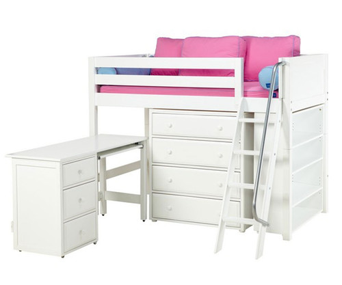 Maxtrix KATCHING Mid Loft Bed w/ Storage and Desk Twin Size White | Maxtrix Furniture | MX-KATCHING3L-WX