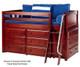 Maxtrix KICKS Low Loft Bed w/ Dressers Twin Size Chestnut   Maxtrix Furniture   MX-KICKS-CX