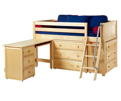 Maxtrix KICKS Low Loft Bed w/ Dressers & Desk Twin Size Natural | Maxtrix Furniture | MX-KICKS1L-NX