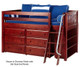 Maxtrix KICKS Low Loft Bed w/ Dresser & Bookcase Twin Size White   Maxtrix Furniture   MX-KICKS2-WX