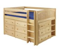 Maxtrix LARGE Low Loft Bed w/ Dressers Full Size Natural   Maxtrix Furniture   MX-LARGE3-NX