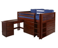 Maxtrix LARGE Low Loft Bed w/ Dressers & Desk Full Size Chestnut | Maxtrix Furniture | MX-LARGE4L-CX