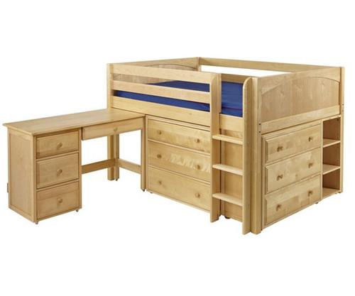 Maxtrix LARGE Low Loft Bed w/ Dressers & Desk Full Size Natural   Maxtrix Furniture   MX-LARGE4L-NX