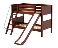 Maxtrix LAUGH Low Bunk Bed w/ Slide Twin Size Chestnut | Maxtrix Furniture | MX-LAUGH-CX