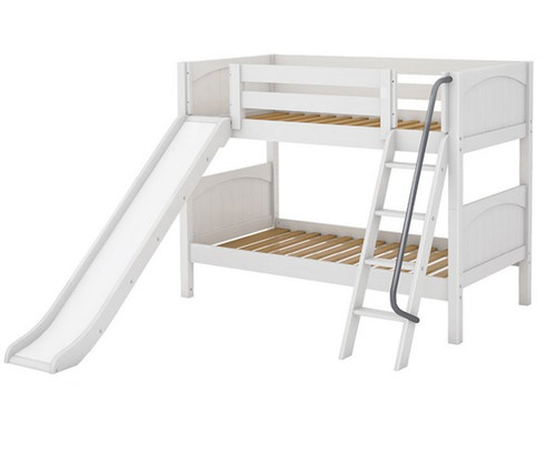 Maxtrix LAUGH Low Bunk Bed w/ Slide Twin Size White | Maxtrix Furniture | MX-LAUGH-WX