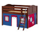 Maxtrix MANSION Low Loft Bed with Curtains Full Size Chestnut | Maxtrix Furniture | MX-MANSION21-CX