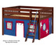 Maxtrix MANSION Low Loft Bed with Curtains Full Size Chestnut | 26438 | MX-MANSION21-CX