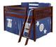 Maxtrix MANSION Low Loft Bed with Curtains Full Size Chestnut 1   Maxtrix Furniture   MX-MANSION22-CX
