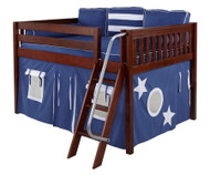Maxtrix MANSION Low Loft Bed with Curtains Full Size Chestnut 1 | Maxtrix Furniture | MX-MANSION22-CX