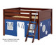 Maxtrix MANSION Low Loft Bed with Curtains Full Size Chestnut 1   26440   MX-MANSION22-CX