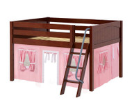 Maxtrix MANSION Low Loft Bed with Curtains Full Size Chestnut 2   Maxtrix Furniture   MX-MANSION23-CX